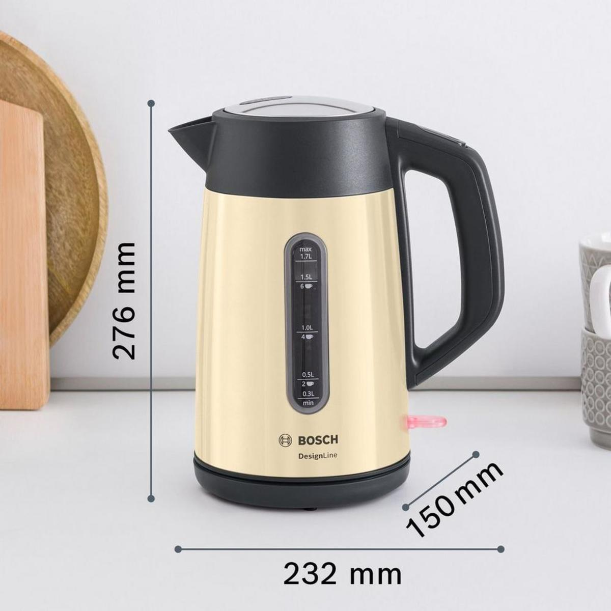 Bosch TWK4P437GB 1.7 Litre Traditional Kettle, Cream