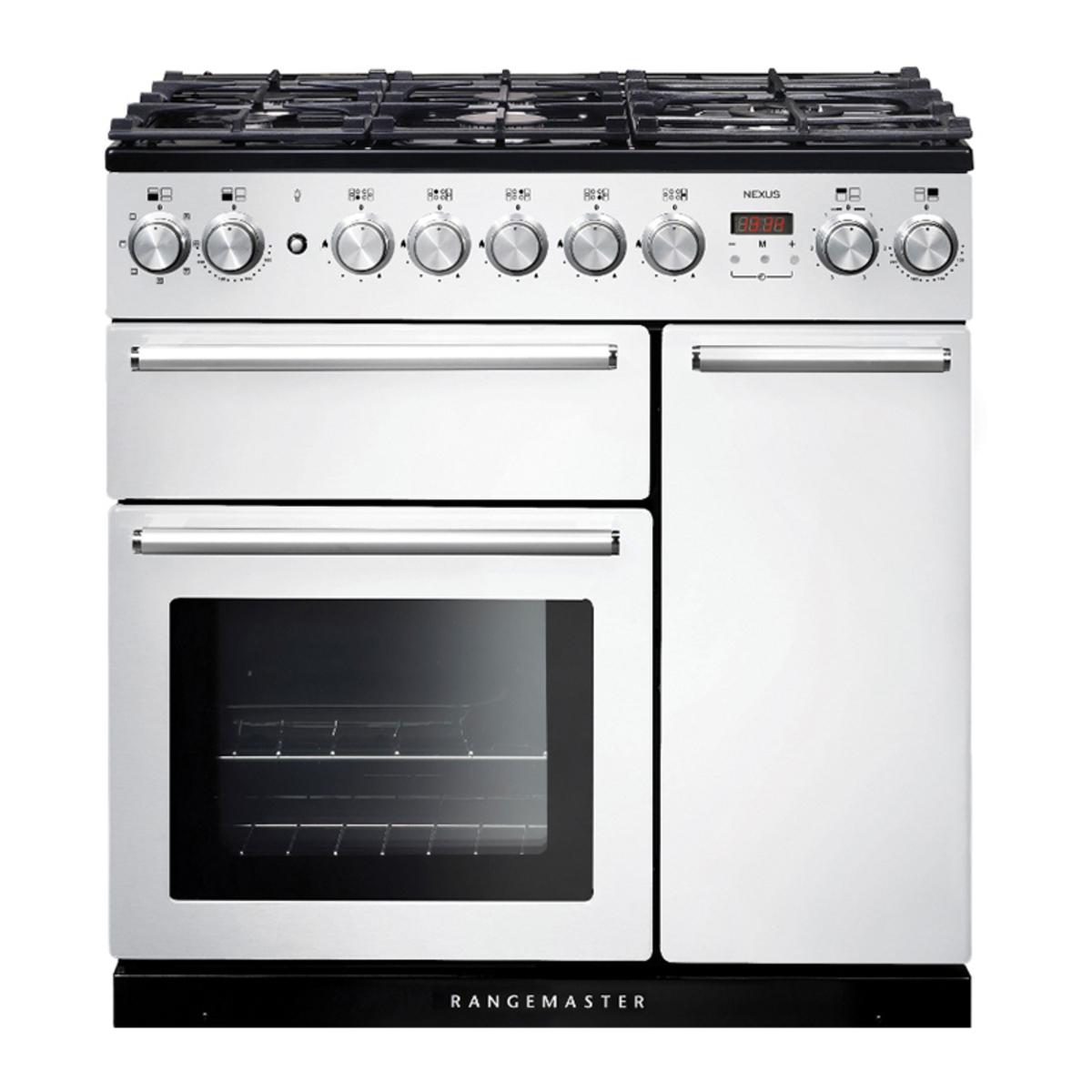 Rangemaster NEX90DFFWHC (106140) 90cm Dual Fuel Range Cooker in White with Chrome Trim