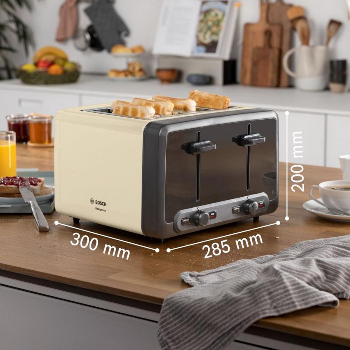 Bosch TAT4P447GB DesignLine 4 Slice Toaster, Cream