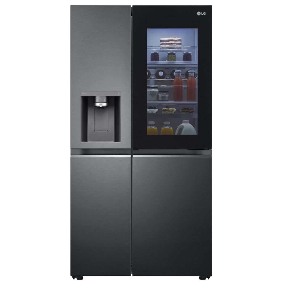 LG GSXV90MCAE InstaView 635L Door-in-Door Fridge Freezer, Matte Black