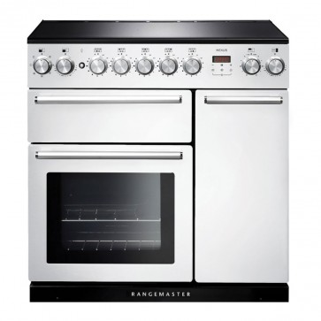 90cm Induction Range Cooker in White with Chrome Trim
