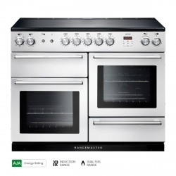110cm Induction Range Cooker in White/Chrome Trim