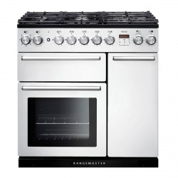 90cm Dual Fuel Range Cooker in White with Chrome Trim