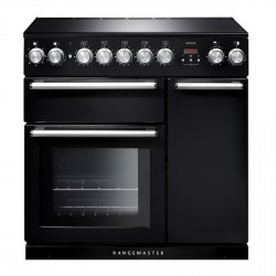 90cm Induction Range Cooker in Black with Chrome Trim