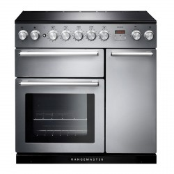 90cm Induction Range Cooker in S/Steel with Chrome Trim