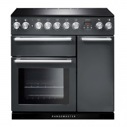 90cm Induction Range Cooker in Slate with Chrome Trim