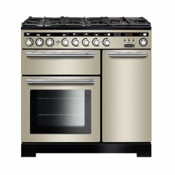 Encore Deluxe 90cm DF Range Cooker, Ivory/Chrome