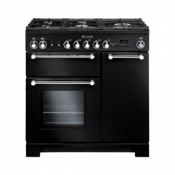 KITCHENER 90cm Gas Range Cooker, Black/Chrome